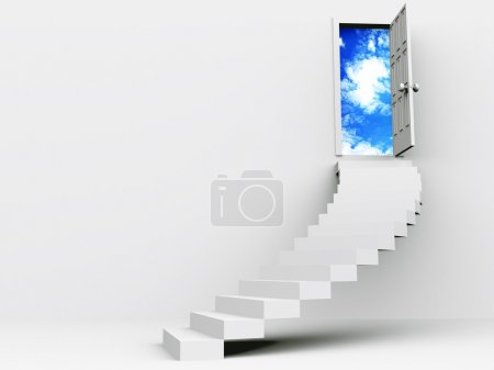 Photo for Stair to open door. 3d - Royalty Free Image