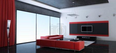 Photo pour Intérieur moderne d'un salon avec des canapés rouges (rendu 3d) - image libre de droit