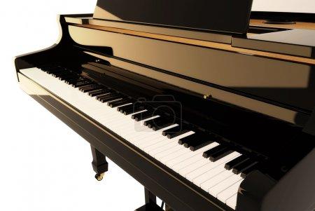 Photo pour Le piano noir (rendu 3d) - image libre de droit