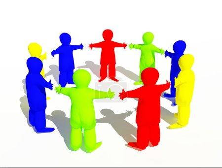Photo pour Abstrait 3d petits hommes debout dans un cercle, tenant la main - image libre de droit
