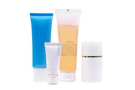 Cosmetics tubes on white