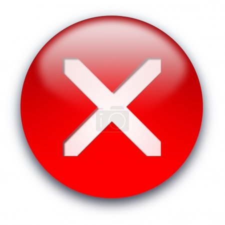 Photo pour Rouge brillant croisé à l'intérieur bouton isolé sur fond blanc - image libre de droit