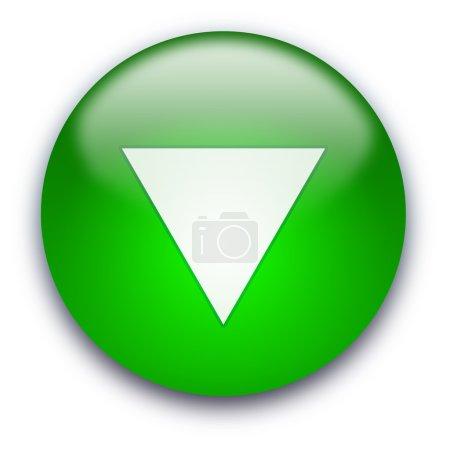 Photo pour Bouton brillant vert avec triangle blanc tourné vers le bas isolé sur fond blanc - image libre de droit