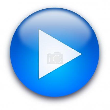 Photo pour Bouton brillant bleu avec triangle blanc a viré à droit isolé sur fond blanc - image libre de droit
