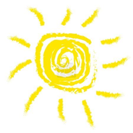 Photo pour Illustration solaire la plus simple (stylisation de la peinture d'enfant) isolée sur fond blanc - image libre de droit