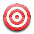 Red and white round target isolated over white bac...