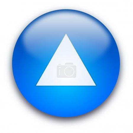 Photo pour Bouton brillant bleu avec triangle blanc retroussé isolé sur fond blanc - image libre de droit