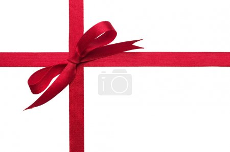 Photo for Red gift celebration ribbon bow over white background - Royalty Free Image