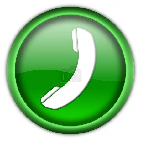 Photo pour Bouton icône de téléphone brillant isolé sur fond blanc - image libre de droit