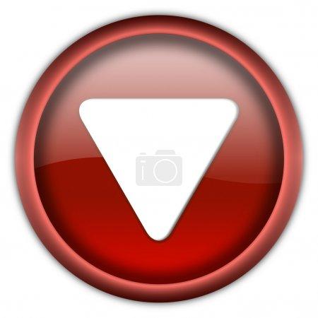 Photo pour Bouton brillant bleu avec triangle blanc tourné vers le bas isolé sur fond blanc - image libre de droit