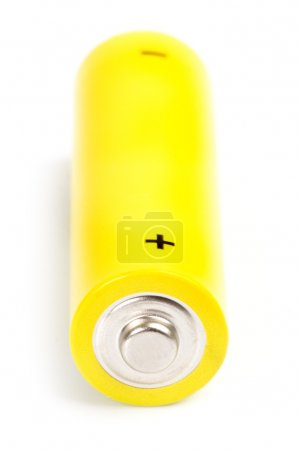 Photo for Yellow alkaline battery isolated on white background - Royalty Free Image