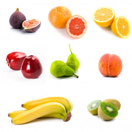 Photo for Collectoin of fresh fruits isolated on the white background - Royalty Free Image