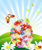 Easter Egg from flowers in a meadow