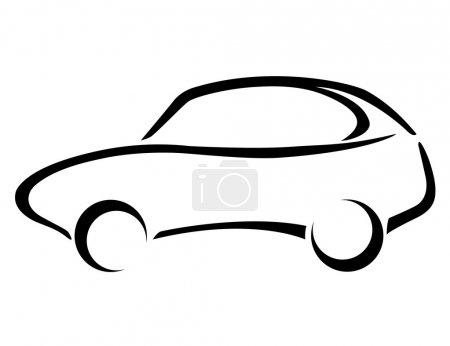 Illustration pour Silhouette de voiture sur fond blanc. Logiciels utilisés : Adobe Illustrator 10. - image libre de droit