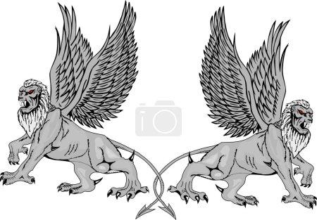dvě mytologické griffins.vector úsporných