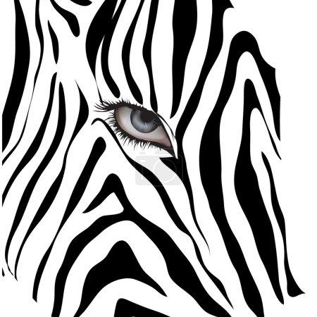 Illustration pour Œil humain parmi les lignes noires sur un fond blanc. - image libre de droit