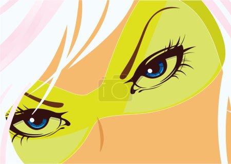 Illustration pour Les yeux bleus de la femme sous les points jaunes. Vecteur - image libre de droit