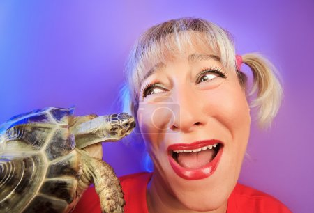 Funny woman with tortoise portrait