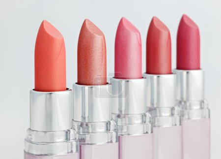 Color lipsticks arranged in line