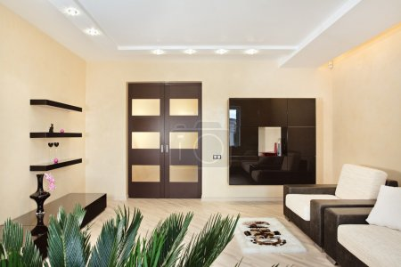 Modern Drawing-room interior in warm ton