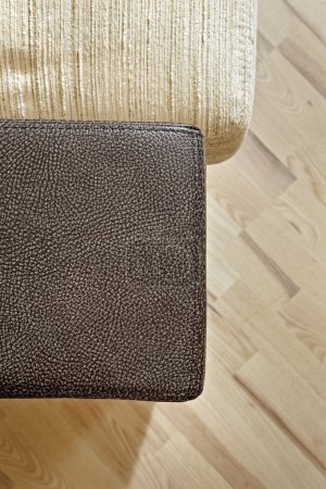 Details of leather sofa headboard on Woo