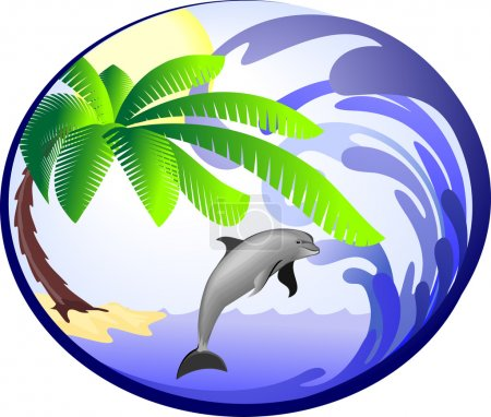 Illustration for Sea background with palm and dolphin - Royalty Free Image