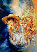 """Постер, картина, фотообои """"Молодая девушка с букетом цветов"""""""