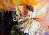 """Постер, картина, фотообои """"Девочка, играя на пианино"""""""