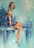 "Постер, картина, фотообои ""Красивая девушка с стекла и ci"""