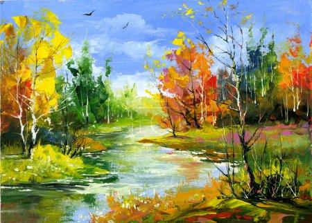 Paisaje otoñal con el río de madera