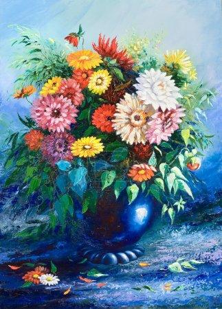Photo pour Bouquet de fleurs sauvages dans un vase - image libre de droit