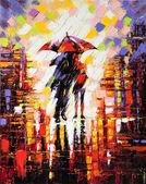 """Постер, картина, фотообои """"Два влюбленных под зонтиком"""""""