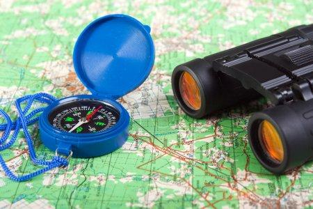 Compass and binoculars