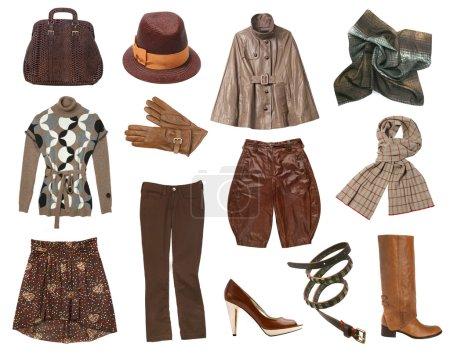 Foto de Conjunto de ropa de mujer marrón aislada en blanco - Imagen libre de derechos