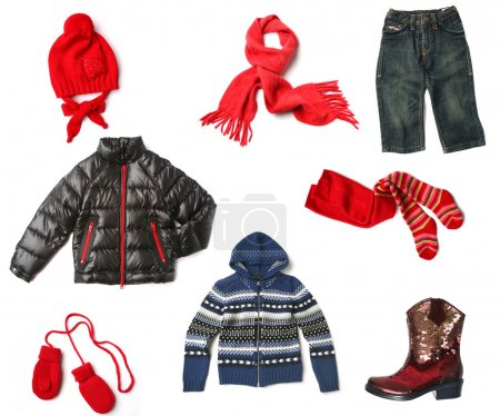 Photo for Kids clothes set isolated on white - Royalty Free Image