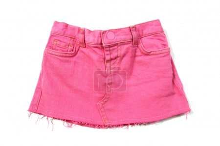 Photo for Pink mini jeans skirt isolated on white - Royalty Free Image