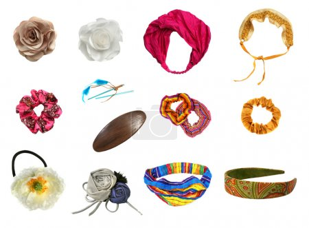 Photo for Hair accessories set isolated on white - Royalty Free Image