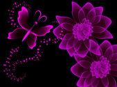 Transparentní květiny a motýl