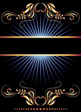 Illustration pour Arrière-plan avec ornement et ruban doré - image libre de droit