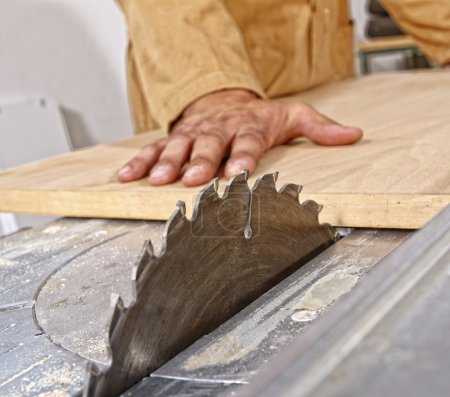 Photo for Detail of caucasian carpenter at work with no safe tool - Royalty Free Image