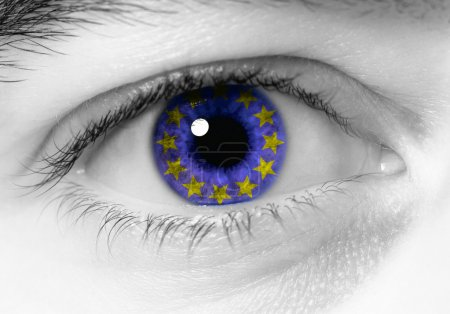 Photo for Black and white close up of eye with blue europe flag - Royalty Free Image
