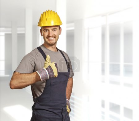 Photo for Fine portrait of young caucasian handyman background - Royalty Free Image