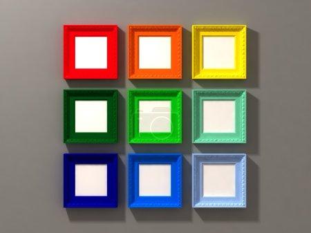 Photo pour Belle image 3d du cadre classique sur mur gris - image libre de droit