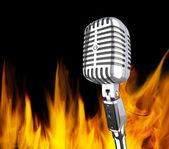 microphone dans le feu
