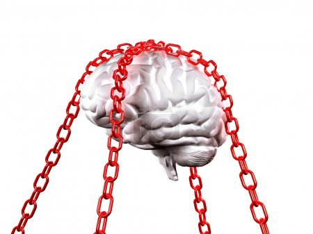Photo for 3d image of white model brain and red chain background - Royalty Free Image