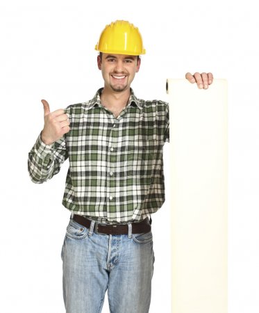 Smiling young manual worker show white long bill