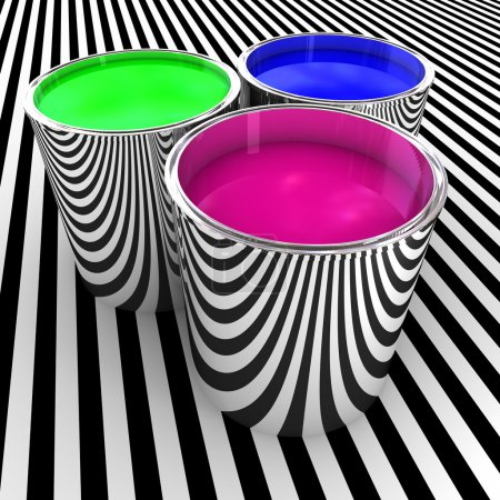 Photo for 3d illustration of metal tank with rgb color paint background - Royalty Free Image
