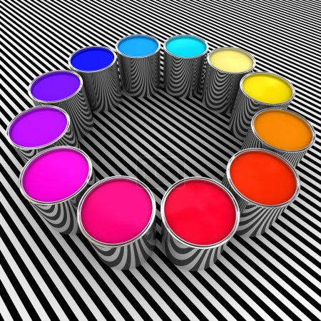 Photo for 3d paint color and metal can background - Royalty Free Image