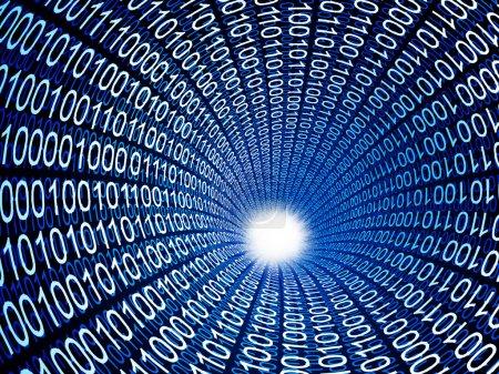Photo pour Tube de code binaire fin fond d'image 3d - image libre de droit