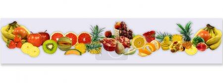Photo pour Conception de panorama à partir de fruits frais pour une carte - image libre de droit